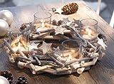 TFH Adventskranz Glitzer Sterne Tischkranz Teelichthalter Kerzenhalter Holz Natur Kranz