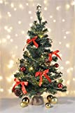 Bambelaa! Künstlicher Weihnachtsbaum Christbaum 75cm komplett geschmückt dekoriert mit Kugeln Sterne Schleifen Girlande 20er LED Lichterkette 1 Stück Batterie (versch. Farben) (Rot/Gold)
