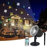Weihnachten LED Projektor, IREGRO Weihnachten LED Effektlicht, Deko Projektor Innen Außen, mit Fernbedienung und Timer, 4 Muster, 18 Verschiedene Projektionseffekte, Wasserdicht IP65