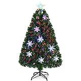 COSTWAY LED Weihnachtsbaum Künstlicher Tannenbaum Christbaum beleuchtet 90/120/150/180cm Grün mit Glasfaser-Farbwechsler (120cm)