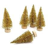 YWCTing ILOVEDIY 10Stück Weihnachtsbaum Künstlich Klein Weihnachtsdeko 4.5cm 6.5cm 12.5cm (Gold, Höhe 4.5cm-10Stück)