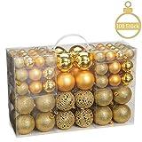 WOMA Christbaumkugeln Set in 10 weihnachtlichen Farben - 50 & 100 Weihnachtskugeln Silber aus Kunststoff - Gold, Silber, Rot & Bronze/Kupfer - Weihnachtsbaum Deko & Christbaumschmuck
