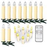 10/20/ 30/40 er Weinachten LED Kerzen Lichterkette Kerzen Weihnachtskerzen Weihnachtsbaum Kerzen mit Fernbedienung Kabellos (Beige, 40er)