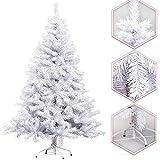 HENGDA® 180CM Künstlicher Modischer WEIß Weihnachtsbaum Tannenbaum Kunstbaum Kusttanne mit Metallfuß