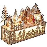 Valery Madelyn Holz LED Haus Lichterbogen Lichtersockel Schwibbogen mit Podest 20cm Batteriebetrieb Beleuchtete Weihnachtsdeko Weihnachtsdorf Lichterhaus Fensterdeko Wald Thema MEHRWEG Verpackung