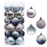 Valery Madelyn Weihnachtskugeln 30 Stücke 6CM Kunststoff Christbaumkugeln Weihnachtsdeko mit Aufhänger Baumschmuck für Weihnachten Dekoration Winterwünsches Thema Silber Blau MEHRWEG Verpackung