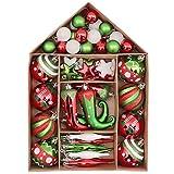 Victor's Workshop Weihnachtskugeln 70tlg.Kunststoff Christbaumkugeln Set Weihnachtsdeko Weihnachtsbaum Dekoration Plastik Weihnachten Deko Herrliches Weihnachten Thema Rot Grün Weiß MEHRWEGVERPACKUNG