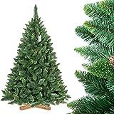 FairyTrees Weihnachtsbaum künstlich Kiefer, Natur-Grün, Material PVC, echte Tannenzapfen, inkl. Holzständer, 180cm