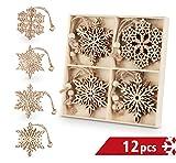 Sweelov 12 Stück Christbaumanhänger Holz Schneeflocke Holz-Anhänger Eiskristalle baumschmuck Holz Weihnachts-Anhänger Hängeornamente Vintage Verzierung Deko