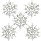 Naler 24 Stk. Schneeflocken Weihnachten Deko für Weihnachtsbaum Glitzer Weiß Weihnachtsbaumschmuck