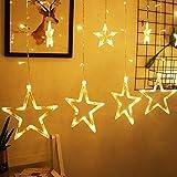 LED Lichtervorhang, Kaliwa Batteriebetriebe Lichterkette 138 LEDs Weihnachts Lichter mit 12 Sterne und LED Kugels, 2 Modi, IP44 Wasserdicht, ideal für Innenräume/Weihnachten/Partydeko (Warmweiß)