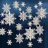 tarumedo 24 Stück 3D Schneeflocke Weihnachten Schneeflocken Girlande, Weihnachten Deko Weihnachtsdekoration Schneeflockendeko Winterdeko Weihnachtsbaum Deko Party Winterdekoration Weihnachtsdeko