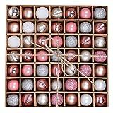 Valery Madelyn Weihnachtskugeln 49 Stücke 3CM Plastik Christbaumkugeln Weihnachtsdeko mit Aufhänger Glänzend Glitzernd Matt Weihnachtsbaumschmuck Weihnachten Dekoration Silber Rosa MEHRWEG Verpackung