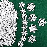 VINFUTUR 100 Stücke Weihnachtsdeko Schneeflocken Holzdeko 25mm 35mm Mini Schneeflocken Holzscheiben Streudeko für DIY Basteln Weihnachten Tischdeko Winterdeko