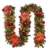 Weihnachtskranz mit LED Lichterkette Beleuchtung 270cm Weihnachtsgirlande künstlich Weihnachten Girlande Weihnachtsdeko Weihnachten, Türkranz Innen und Außen (rot)