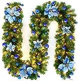 Faraone4w Weihnachtsgirlande, Künstliche Tannengirlande Weihnachtsgirlande mit LED Beleuchtet Weihnachten Dekoration 2.7 Meter für Innen und Außen Verwendbar Deko (Blau)