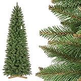 FairyTrees Weihnachtsbaum künstlich FICHTE, Natur-Weiss mit Schneeflocken, Material PVC, inkl. Holzständer, 220cm