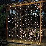 Salcar LED Lichtervorhang 3x3m IP44 Sterne Lichterkette, Lichtervorhang für Weihnachten, Partydekoration, Innenbeleuchtung, 8 Lichtprogramme (warmweiß)