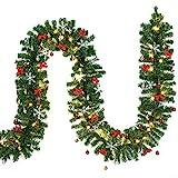 Casaria Weihnachtsgirlande I 5m I 80 LED's I inkl Deko I In- & Outdoor I Tannengirlande Tannenzweiggirlande Weihnachtsdeko